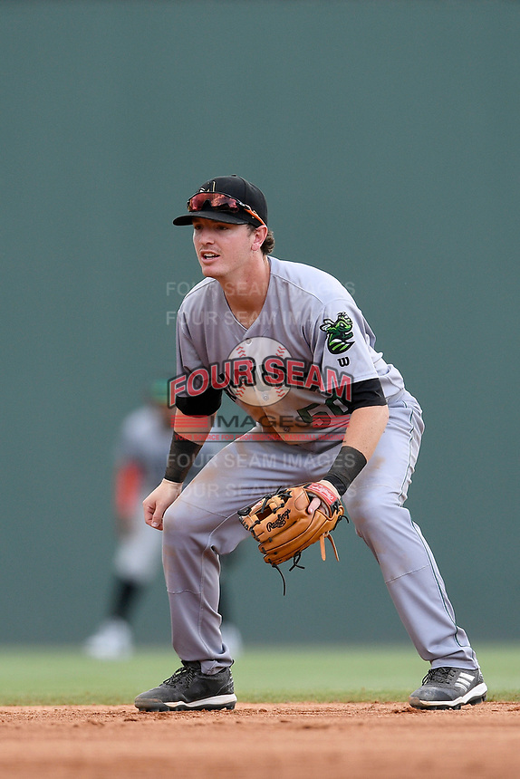 Second baseman Tyler Brown (50) of the Augusta GreenJackets plays defense in a game against the Greenville Drive on Thursday, May 17, 2018, at Fluor Field at the West End in Greenville, South Carolina. Augusta won, 2-1. (Tom Priddy/Four Seam Images)