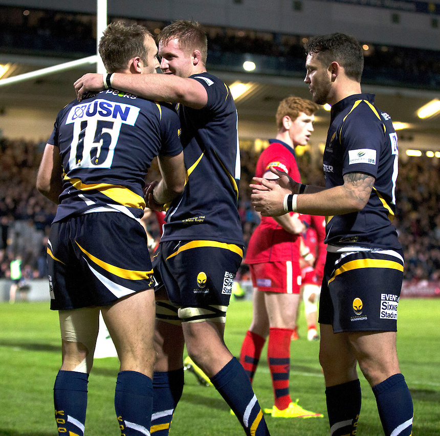 Worcester Warriors' Chris Pennell being congratulated by team mates after scoring the final try<br /> <br /> Photo by Rachel Holborn/CameraSport<br /> <br /> Rugby Union - Greene King Championship Final 2nd Leg - Worcester Warriors v Bristol - Wednesday 27th May 2015 - Sixways Stadium - Worcester<br /> <br /> &copy; CameraSport - 43 Linden Ave. Countesthorpe. Leicester. England. LE8 5PG - Tel: +44 (0) 116 277 4147 - admin@camerasport.com - www.camerasport.com