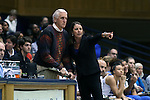 13 November 2016: Duke head coach Joanne P. McCallie (right) talks to assistant coach Al Brown (left). The Duke University Blue Devils hosted the University of Pennsylvania Quakers at Cameron Indoor Stadium in Durham, North Carolina in a 2016-17 NCAA Division I Women's Basketball game. Duke defeated Penn 68-55.