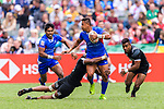 Alatasi Tupou of Samoa (C) fights with Luke Masirewa of New Zealand (L) during the HSBC Hong Kong Sevens 2018 match between New Zealand and Samoa on April 7, 2018 in Hong Kong, Hong Kong. Photo by Marcio Rodrigo Machado / Power Sport Images