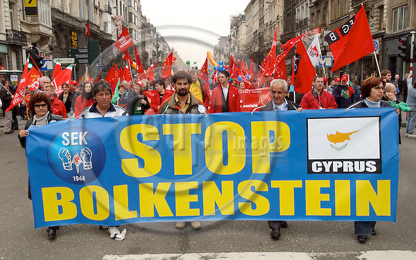 Brussels-Belgium - 19 March 2005---The European Trade Union Confederation (ETUC) called for a demonstration and more than 50.000 demonstrators came into the city of Brussels to demand more and better jobs, to defend a social Europe and to withdraw the Bolkestein directive; here, SEK of Cyprus---Photo: Horst Wagner/eup-images