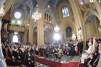 Pope Benedict XVI blesses Christians at the Latin Patriarch Church in Jerusalem's Old City, Tuesday May 12,2009.