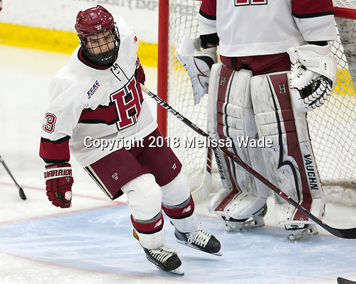 Nathan Krusko (Harvard - 13) - The visiting Colgate University Raiders shut out the Harvard University Crimson for a 2-0 win on Saturday, January 27, 2018, at Bright-Landry Hockey Center in Boston, Massachusetts.
