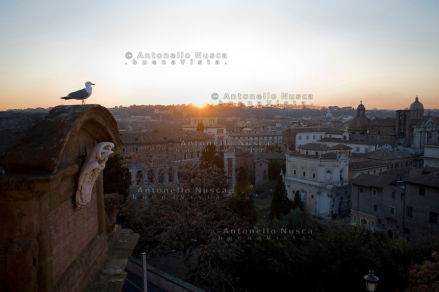 Tramonto a Roma. Sunset in Rome