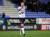 Bolton Wanderers' David Wheater applauds the home fans at the end of the match<br /> <br /> Photographer Andrew Kearns/CameraSport<br /> <br /> The EFL Sky Bet Championship - Bolton Wanderers v Blackburn Rovers - Saturday 6th October 2018 - University of Bolton Stadium - Bolton<br /> <br /> World Copyright &copy; 2018 CameraSport. All rights reserved. 43 Linden Ave. Countesthorpe. Leicester. England. LE8 5PG - Tel: +44 (0) 116 277 4147 - admin@camerasport.com - www.camerasport.com