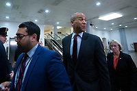 United States Senator Cory Booker (Democrat of New Jersey) walks through the Senate Subway to attend a closed door briefing in the Senate SCIF with United States Secretary of State Mike Pompeo, United States Secretary of Defense Dr. Mark T. Esper, Gina Haspel, Director, Central Intelligence Agency (CIA), United States Army General Mark A. Milley, Chairman of the Joint Chiefs of Staff, and Acting Director of Intelligence Joseph Maguire at the United States Capitol in Washington D.C., U.S., on Wednesday, January 8, 2020.  97 senators were said to have attended the briefing, which discussed the U.S. drone strike on Iranian military leader Qasem Soleimani and the issue of Congressional authorization for such acts.<br /> <br /> Credit: Stefani Reynolds / CNP/AdMedia