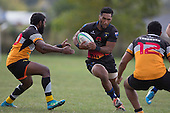 Teina Nahi lines up the gap between Vilitati Sabani and Samisoni Mafi. Counties Manukau Premier Club rugby game between Te Kauwhata and Onewhero, played at Te Kauwhata on Saturday April 16th 2016. Onewhero won the game 37 - 0 after leading 13 - 0 at Halftime. Photo by Richard Spranger.
