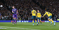 2nd November 2019; Hampden Park, Glasgow, Scotland; Scottish League Cup Football, Hibernian versus Celtic; Mohamed Elyounoussi of Celtic heads Celtic into the lead in the 17th minute making it 1-0  - Editorial Use