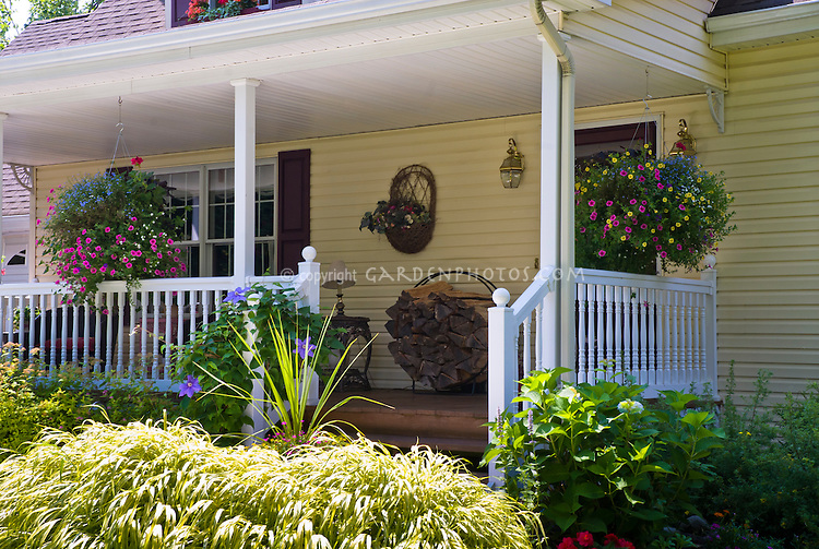 Front Porch Garden, Hanging Baskets Of Annual Flowers, Firewood Holder,  Front Door,