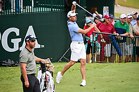 Charl Schwartzel (RSA) loses his club during his tee shot on 10  during Wednesday's preview of the PGA Championship at the Quail Hollow Club in Charlotte, North Carolina. 8/9/2017.<br /> Picture: Golffile | Ken Murray<br /> <br /> <br /> All photo usage must carry mandatory copyright credit (&copy; Golffile | Ken Murray)
