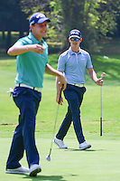 Brandon Stone (RSA) celebrates his chip in on 1 as Emiliano Grillo (ARG) laughs during round 1 of the World Golf Championships, Mexico, Club De Golf Chapultepec, Mexico City, Mexico. 3/2/2017.<br /> Picture: Golffile | Ken Murray<br /> <br /> <br /> All photo usage must carry mandatory copyright credit (&copy; Golffile | Ken Murray)
