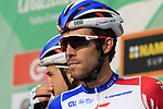 Thibaut Pinot (FRA) Groupama-FDJ at sign on before the start of the 112th edition of Il Lombardia 2018, the final monument of the season running 241km from Bergamo to Como, Lombardy, Italy. 13th October 2018.<br /> Picture: Eoin Clarke | Cyclefile<br /> <br /> <br /> All photos usage must carry mandatory copyright credit (© Cyclefile | Eoin Clarke)