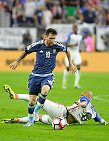 Action photo during the match Unitred States vs Argentina, Corresponding to the Semifinals of the America Cup Centenary 2016 at NRG Stadium.<br /> <br /> Foto  de accion durante el partido Estados Unidos vs Argentina, Correspondiente a la Semifinal de la Copa America Centenario 2016, en el Estadio NRG, en la foto: (i-d) Lionel Messi de Argentina y John Brooks de USA<br /> <br /> <br /> 21/06/2016/MEXSPORT/PHOTOGAMMA/Javier Gonzalez.