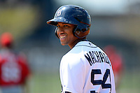 Detroit Tigers shortstop Dixon Machado #54 during a minor league Spring Training game against the Washington Nationals at Tiger Town on March 22, 2013 in Lakeland, Florida.  (Mike Janes/Four Seam Images)