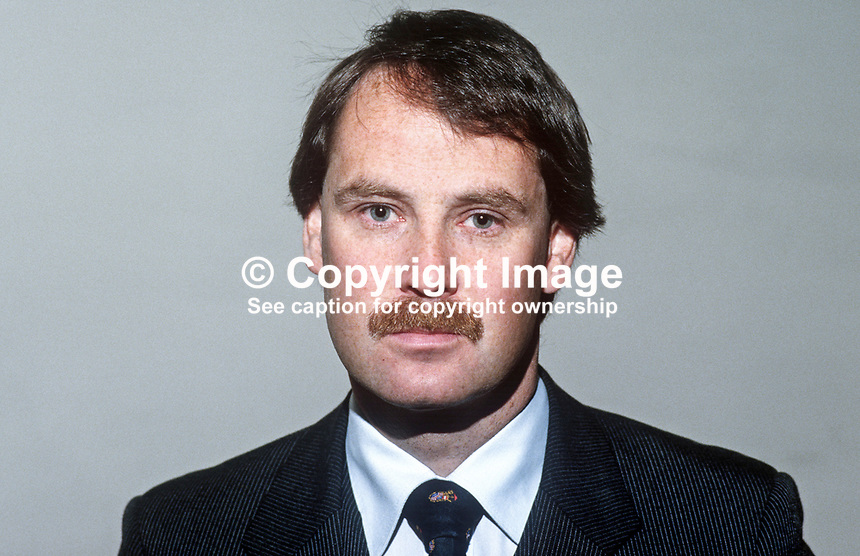 Paul Maguire, Alliance Party, candidate, North Belfast, UK Parliamentary by-elections, January 1986. The by-election was one of fifteen caused by the mass resignation of 15 sitting Unionist MPs, Official, Democratic & Popular, in protest at the signing of the Anglo-Irish Agreement. As a result of the exercise one unionist seat was lost to the SDLP. 19860116PM1..Copyright Image from Victor Patterson, 54 Dorchester Park, Belfast, United Kingdom, UK...For my Terms and Conditions of Use go to http://www.victorpatterson.com/Victor_Patterson/Terms_%26_Conditions.html