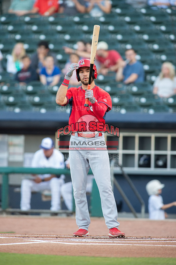 Springfield Cardinals outfielder Dylan Carlson (8) steps to the plate on May 16, 2019, at Arvest Ballpark in Springdale, Arkansas. (Jason Ivester/Four Seam Images)