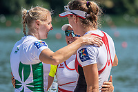 Lucerne, SWITZERLAND, 15th July 2018, Sunday Women's Single Sculls, Medalist, centre,  Gold Medalist, SUI W1X,  Jeannine GMELIN, left, Silver Medalist, IRL W1X, Sanita PUSPURE and right, Bronze Medalist, CAN W1X, Carling ZEEMAN, FISA World Cup III Lake Rotsee, © Peter SPURRIER,
