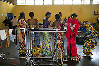 KINSHASA, DRC - KINSHASA, DRC - JULY 2: Models wait for rehearsals at Kinshasa Fashion Week on July 23, 2015, at the boxing gym at Shark club in Kinshasa, DRC. Local and invited foreign-based designers showed their collections during the 2015 edition of Kinshasa Fashion week. (Photo by Per-Anders Pettersson)