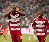 CARSON, CA – OCTOBER 24: FC Dallas midfielder Atiba Harris celebrates his goal during a soccer match at the Home Depot Center, October 24, 2010 in Carson, California. Final score LA Galaxy 2, Dallas FC 1.