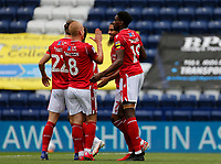 11th July 2020; Deepdale Stadium, Preston, Lancashire, England; English Championship Football, Preston North End versus Nottingham Forest;  Lewis Grabban of Nottingham Forest celebrates with his team mates after he scores his side's first goal from the penalty spot to make the score 1-0 after five minutes