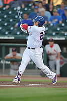 Iowa Cubs Daniel Vogelbach (20) swings during the Pacific Coast League game against the Memphis Redbirds at Principal Park on June 6, 2016 in Des Moines, Iowa.  Memphis won 6-2.  (Dennis Hubbard/Four Seam Images)