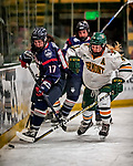 9 February 2018: University of Vermont Catamount Defender Sammy Kolowrat, a Junior from Prague, the Czech Republic, gets the puck away from University of Connecticut Huskie Forward Savannah Bouzide, a Freshman from Amherstburg, Ontario, in first period action against at Gutterson Fieldhouse in Burlington, Vermont. The Lady Cats defeated the Huskies 1-0 to take the first game of their weekend Hockey East series. Mandatory Credit: Ed Wolfstein Photo *** RAW (NEF) Image File Available ***