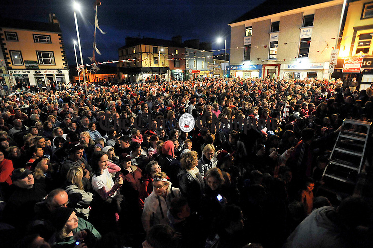 Some of the crowd who turned out at the victorious Galway minors All-Ireland homecoming in Gort. Photograph by John Kelly.