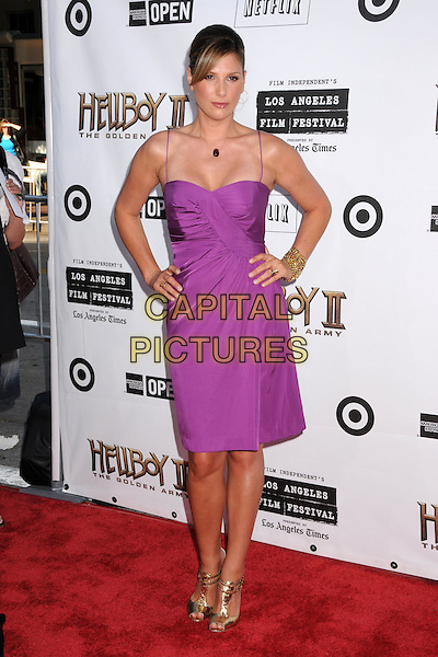 """DAISY FUENTES .""""Hellboy II: The Golden Army"""" Los Angeles Premiere at Mann's Village Theatre, Westwood, California, USA..June 28th, 2008.hell boy 2 full length pink purple dress hand son hips gold shoes .CAP/ADM/BP.©Byron Purvis/AdMedia/Capital Pictures."""