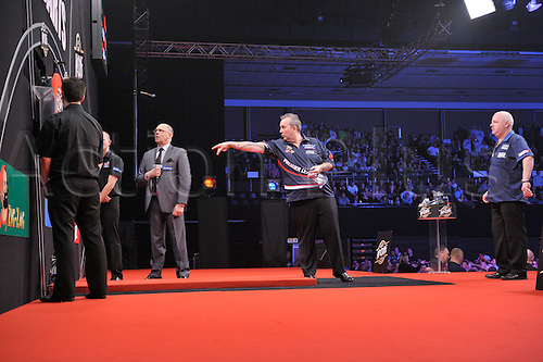 04.04.2013 Brighton, England.  Phil Taylor during his match with Robert Thornton during week nine of the Premier League Darts from The Brighton Centre.