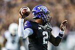 TCU Horned Frogs quarterback Trevone Boykin (2) in action during the game between the  West Virginia and the TCU Horned Frogs at the Amon G. Carter Stadium in Fort Worth, Texas.