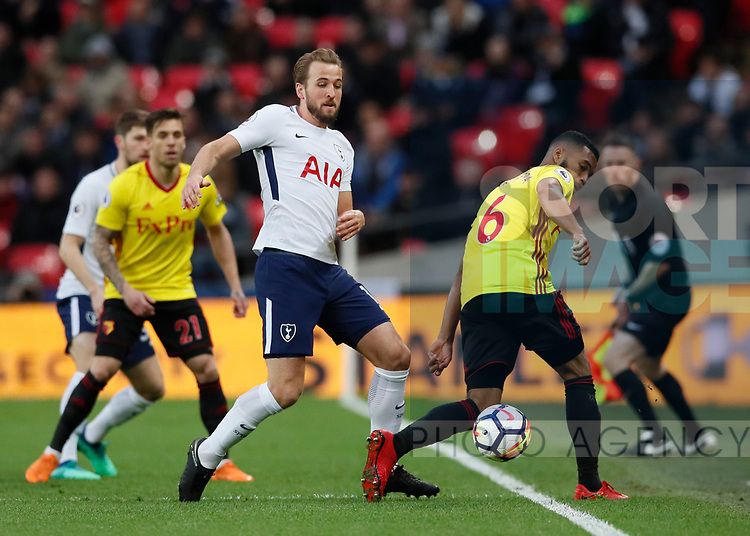 Harry Kane of Tottenham tackles Adrian Mariappa of Watford during the premier league match at Wembley Stadium, London. Picture date 30th April 2018. Picture credit should read: David Klein/Sportimage