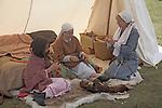 Saxon family, Living History event, Sutton Hoo, Suffolk, England