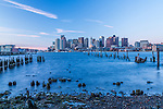 A winter sunrise over Boston Harbor, Boston, Massachusetts, USA