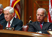 United States Senator Richard Lugar (Republican of Indiana), left, Chairman, and United States Senator Joseph Biden (Democrat of Delaware), ranking member, right, listen to testimony at a hearing of the United States Senate Foreign Relations Committee to review the United Nations Oil-for-Food Program in Washington, D.C. on April 7, 2004..Credit: Ron Sachs / CNP.
