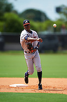 GCL Braves second baseman Ronny Guillermo (5) during practice before a game against the GCL Astros on July 23, 2015 at the Osceola County Stadium Complex in Kissimmee, Florida.  GCL Braves defeated GCL Astros 4-2.  (Mike Janes/Four Seam Images)