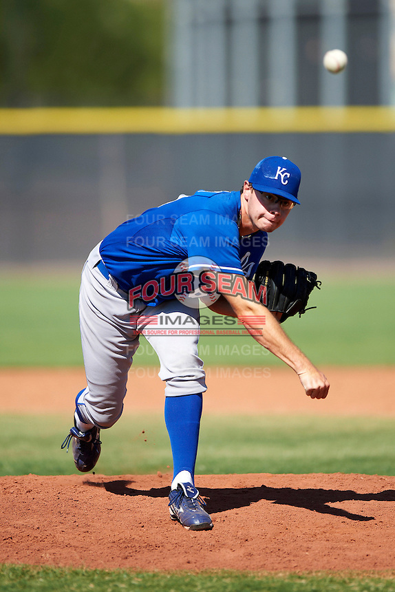 Kansas City Royals minor league pitcher John Walter #68 during an instructional league game against the Seattle Mariners at the Peoria Sports Complex on October 2, 2012 in Peoria, Arizona. (Mike Janes/Four Seam Images)