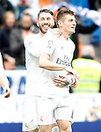 Real Madrid's Sergio Ramos (l) and Toni Kroos celebrate goal during La Liga match. February 13,2016. (ALTERPHOTOS/Acero)