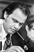In this file photo, former United States Senator Fred Thompson (Republican of Tennessee), is pictured as he smokes a pipe while reading notes when he served as Minority (Republican) Counsel during John Dean's testimony before the US Senate Watergate Committee on June 25, 1973.  Thompson's family announced he passed away on Sunday, November 1, 2015 at age 73 in Nashville, Tennessee after a recurrence of lymphoma.<br /> Credit: Bernhard Schopper / CNP