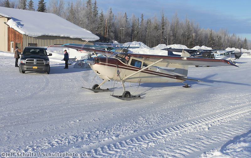 Saturday February 18, 2012  Pilot Joe Pendergrass taxis with a load at the Willow airport as the straw, musher food bags, lathe, people food and supplies begin to be flown out by the Iditarod volunteer Air Force  to checkpoints along the trail.
