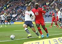 Preston North End's Patrick Bauer battles with  Wigan Athletic's Cedric Kipre<br /> <br /> Photographer Mick Walker/CameraSport<br /> <br /> The EFL Sky Bet Championship - Preston North End v Wigan Athletic - Saturday 10th August 2019 - Deepdale Stadium - Preston<br /> <br /> World Copyright © 2019 CameraSport. All rights reserved. 43 Linden Ave. Countesthorpe. Leicester. England. LE8 5PG - Tel: +44 (0) 116 277 4147 - admin@camerasport.com - www.camerasport.com