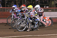 Heat 12: Patrick Hougaard (yellow), Linus Sundstrom (white), Rob Mear (blue) and Peter Karlsson - Lakeside Hammers vs Peterborough Panthers - Sky Sports Elite League Speedway at Arena Essex Raceway, Purfleet - 14/09/12 - MANDATORY CREDIT: Gavin Ellis/TGSPHOTO - Self billing applies where appropriate - 0845 094 6026 - contact@tgsphoto.co.uk - NO UNPAID USE.