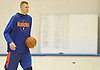Kristaps Porzingis of the New York Knicks engages in a light practice as he rehabs from injury at Madison Square Garden Training Center in Greenburgh, NY on Friday, Sept. 28, 2018.