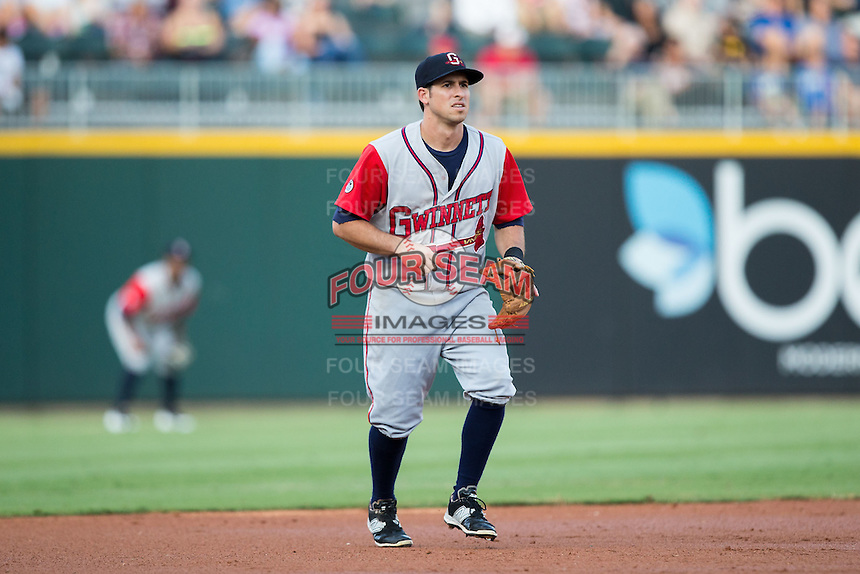Gwinnett Braves third baseman Sean Kazmar (9) on defense against the Charlotte Knights at BB&T BallPark on August 11, 2015 in Charlotte, North Carolina.  The Knights defeated the Braves 3-2.  (Brian Westerholt/Four Seam Images)