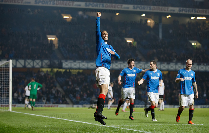 Bilel Mohsni celebrates after scoring the second goal for Rangers
