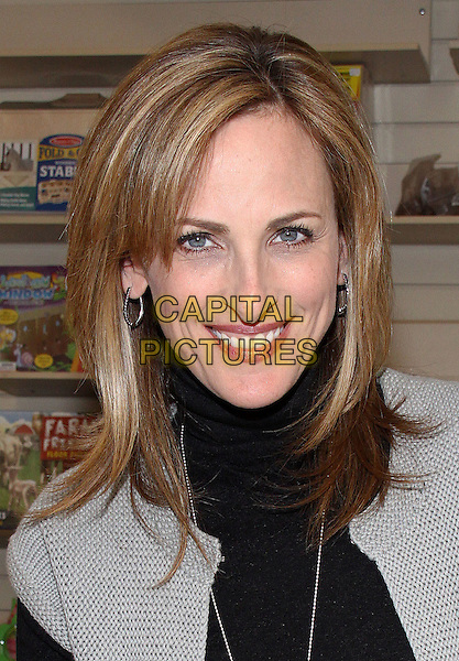 "MARLEE MATLIN.""I'll Scream Later"" Book Signing held at Bookends Book Store, Ridgewood, New Jersey, USA, .14th April 2009..portrait headshot  black top grey gray  sweater jumper polo neck .CAP/ADM/PZ.©Paul Zimmerman/Admedia/Capital Pictures"