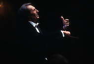 Manhattan, New York City - Circa November, 1982. Picture of Carlo Maria Giulini conducting the Los Angeles Philharmonic orchestra. Carlo Maria Giulini (May 9, 1914 - June 14, 2005) worked as music director of the Vienna Symphony, then as Music Director of the Los Angeles Philharmonic, whom he conducted critically acclaimed production of Verdi's Flagstaff.