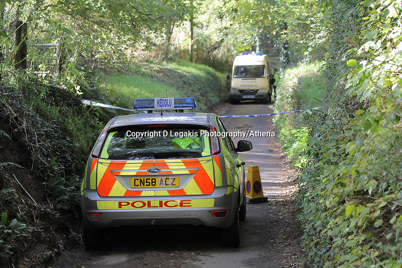 NO BYLINE PLEASE<br /> Pictured: Police officers searching for eveidence in the woods where the body of Rebecca Aylward was discovered. Monday 25 October 2010<br /> Re: 15 year old Rebecca Aylward has been found murdered in woodlands near Aberkenfig south Wales. Two fifteen year old men have been arrested. Aylward was originally from nearby Maesteg.