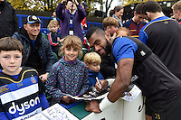Niko Matawalu of Bath Rugby mingles and signs autographs with supporters at the end of the session. Bath Rugby Captain's Run on October 30, 2015 at the Recreation Ground in Bath, England. Photo by: Patrick Khachfe / Onside Images
