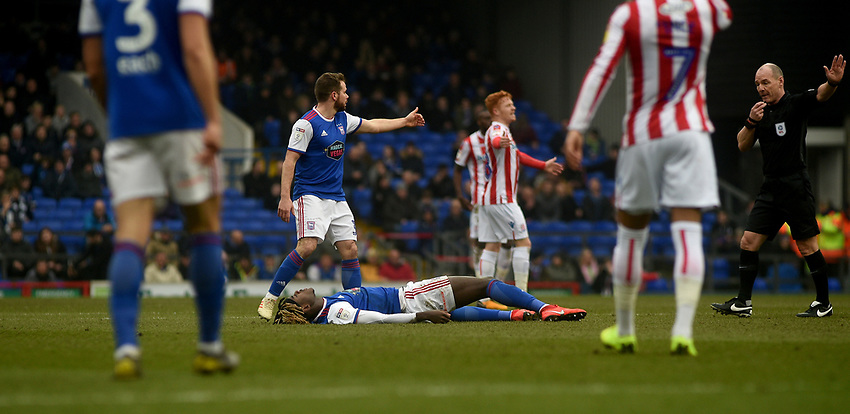 Ipswich Town's Trevoh Chalobah on the ground injured <br /> <br /> Photographer Hannah Fountain/CameraSport<br /> <br /> The EFL Sky Bet Championship - Ipswich Town v Stoke City - Saturday 16th February 2019 - Portman Road - Ipswich<br /> <br /> World Copyright © 2019 CameraSport. All rights reserved. 43 Linden Ave. Countesthorpe. Leicester. England. LE8 5PG - Tel: +44 (0) 116 277 4147 - admin@camerasport.com - www.camerasport.com