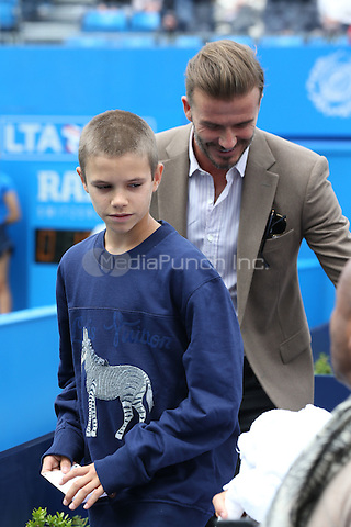 David Beckham and son, Romeo Beckham, attend Wawrinka vs Verdasco at Aegon Queens tennis Championship, London, England  June 14, 2016. <br /> CAP/GOL<br /> &copy;GOL/Capital Pictures /MediaPunch ***NORTH AND SOUTH AMERICAS ONLY***
